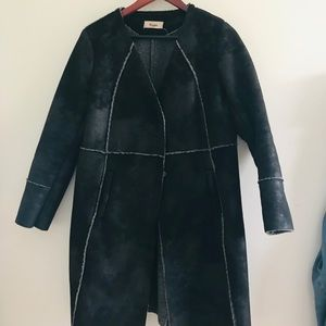 Long faux wool  trench coat. Light, cozy, cute